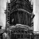 Boat Apartments, Simon McWilliams, oil on paper monotype.