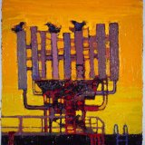 """""""Phone tree with birds"""" oil on canvas 2010"""