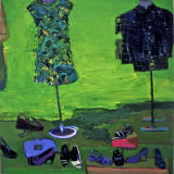 Dress, Shirt and Shoes, Bond street shop window oil on canvas, Simon McWilliams