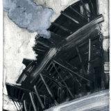 """Obel & Smoke"" oil on paper  with chine collé 28 x 21 cm unique mono"