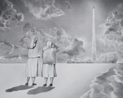 Untitled (two nuns and a rocket)