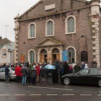 Gathering outside the Methodist Church