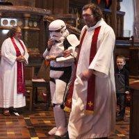 Storm Trooper in Church - Andrew is a big Star Wars fan.