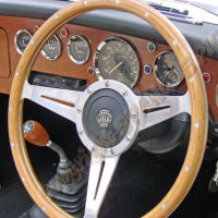 Classic Car Dashboard and Steering Wheel
