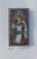 Raku  Angel picture card by Iris Davies