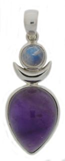 High Priestess pendant with Amethyst body and moonstone head