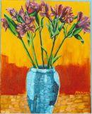 'Columbian Lilies in Blue Vase'