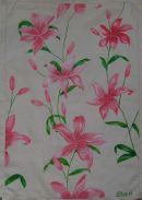 'Pink Lilies on cloth'
