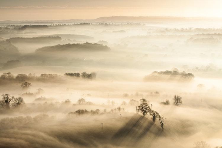 Dawn mists Pewsey Vale