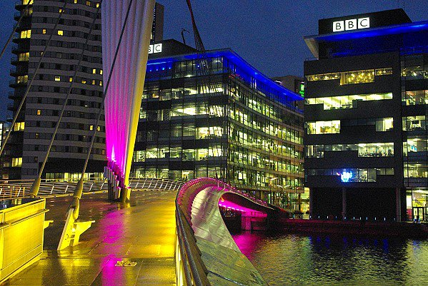 The BBC by night.
