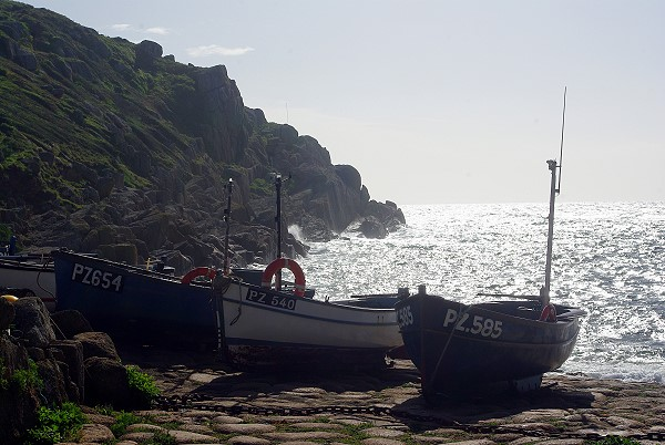Boats moored at Penberth Cove