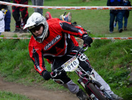 Cyclist at MTB Downhill Bike Event, Marple, Cheshire 1