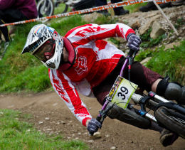 Cyclist at MTB Downhill Bike Event, Marple, Cheshire 4