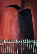not titled  (two arches with green fence) 1993