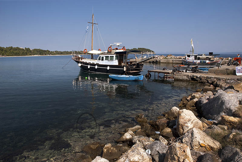 Boat docked at Chrousou Bay, Nr. Paliouri.