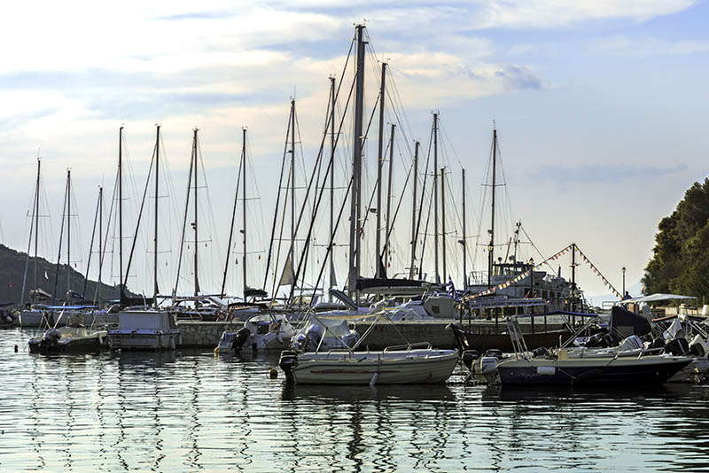 Boats moored at Sivota Harbour (a)
