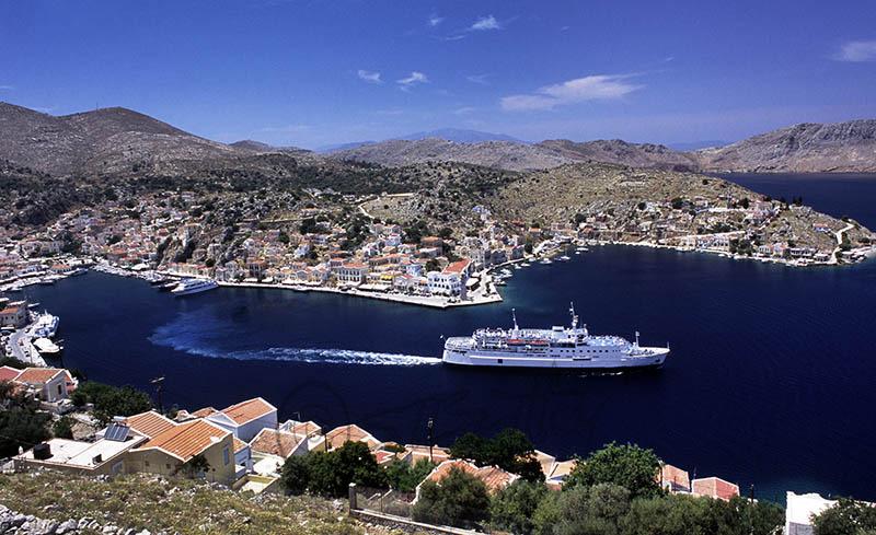 Ferry leaving Symi Harbour