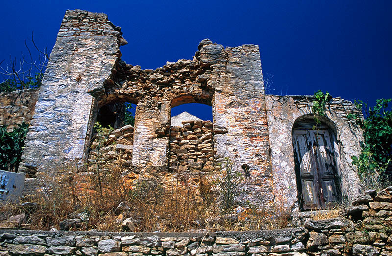 Ruins in Symi Town. (a).