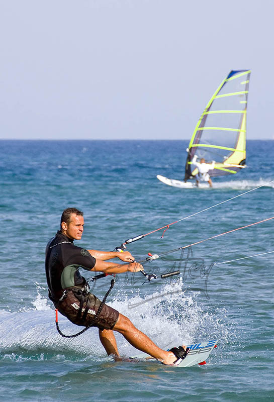 Kite surfing at Prasonisi Beach.