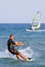 Kite surfing at Prasonisi Beach.