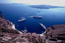 Visiting ships, Thira.