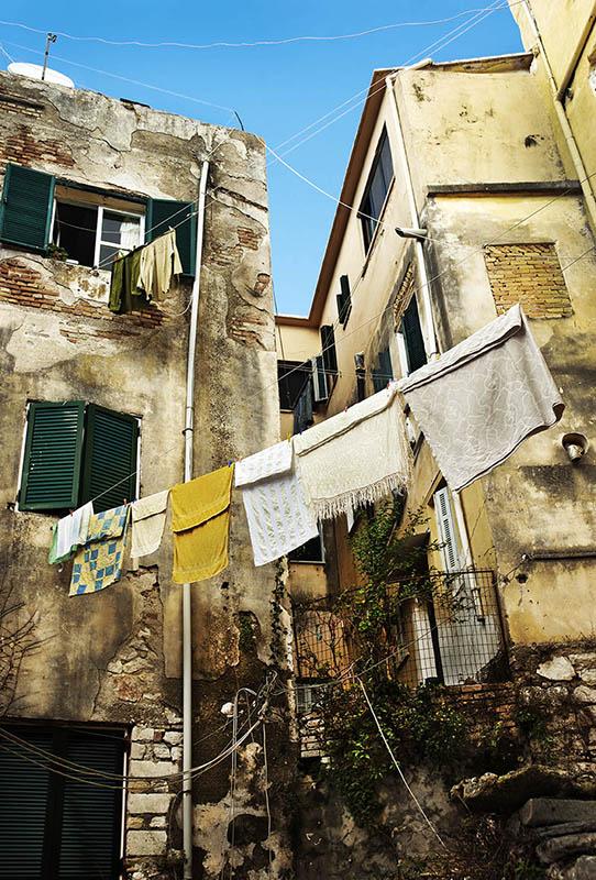 Washday in Corfu Town.