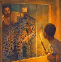 Leopard in cage at Colisseium