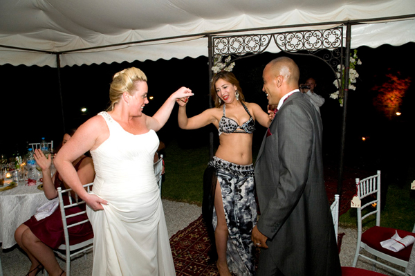 Morocco wedding couple bellydancer