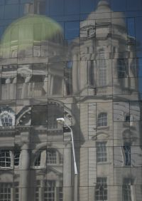 Liverpool reflection with street lamp