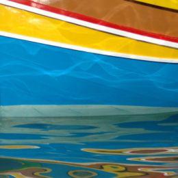 Fishing boat reflection