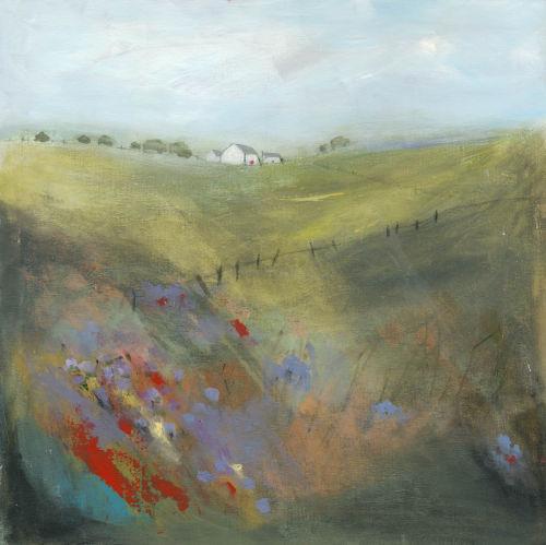 Field of wild bluebells