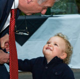 Father of the Bride with his grandson by London Wedding Photographer Philip Pound