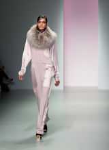 Fashion Model in Pink on the Catwalk