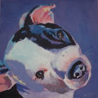 Staffy pup acrylic painting