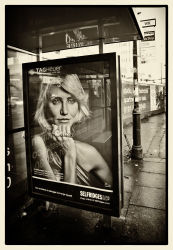Bus stop, wet day.....