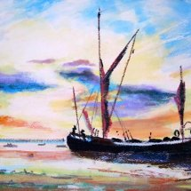 Thames Barge at a Mersea Island Sunset