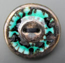 dark turquise bronze button brooch