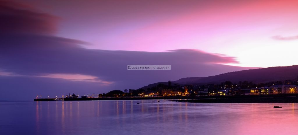 Sunset over the town of Dunoon
