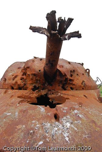 Tank used for target practice, Castlemartin Range, Pembrokeshire