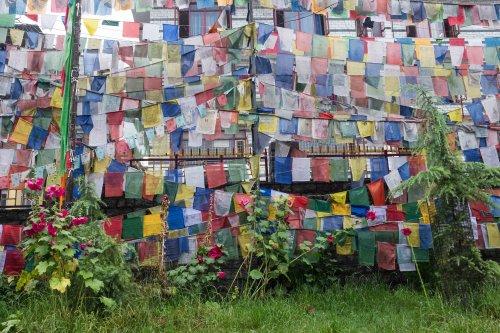 Manali temple prayer flags