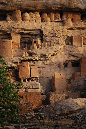 Cliff dwellings and granaries, Teli village, Mali