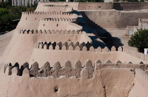 Khiva, battlements on the town wall