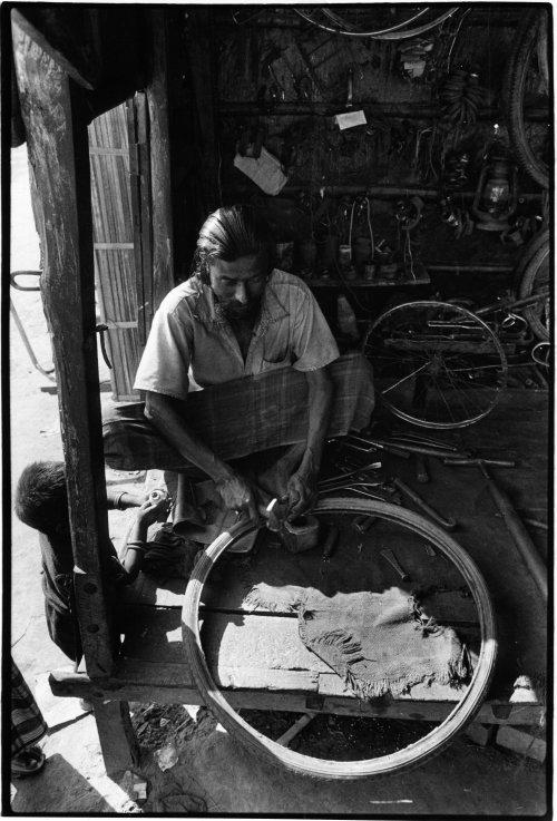 Bicycle and rickshaw repair shop, Western Bangladesh