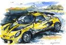 Lotus Exige : watercolour / black pen / oil pastel