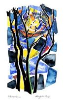 4 Trees / sun : watercolour/oil pastel/blackpen : Not available
