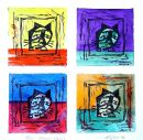 Four Chairman Meows: acrylic and linocut:unique