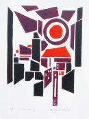Manhatten Morning: reduction linocut: edition of 15