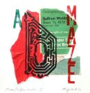 Maze, Saffron Walden-II : woodblock/lino/collage : 20*20cms