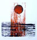 Orange Rising: woodblock/collage: unique SOLD