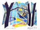 Silva Sundown : watercolour/oilpastel/blackpen: SOLD